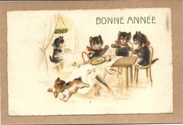 BONNE   ANNEE     CHATS  HUMANISES   A  TABLE  CHIEN  VOLEUR  DE  SAUCISSE - Chats