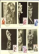 Espagne Alonso Berruguete 1962  Sculpture En Bois Mi Nr 1327 à  1332, 6 Cartes Cachet 1er Jour - Cartes Maximum