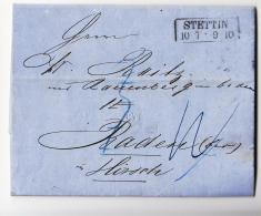 1860 DR Faltbrief STETTIN Nach BADEN-Ra2 STETTIN-g114 - Prusse