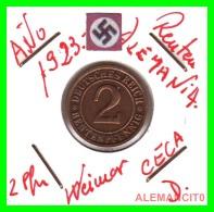 GERMANY - MONEDA DE 2- RENTENPFENNIG AÑO 1923 D Bronze - [ 3] 1918-1933 : República De Weimar