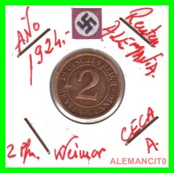 GERMANY - MONEDA DE 2- RENTENPFENNIG AÑO 1924  A Bronze - [ 3] 1918-1933 : República De Weimar