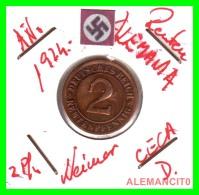 GERMANY - MONEDA DE 2- RENTENPFENNIG AÑO 1924 D  Bronze - [ 3] 1918-1933 : República De Weimar
