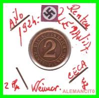 GERMANY - MONEDA DE 2- RENTENPFENNIG AÑO 1924 E  Bronze - [ 3] 1918-1933 : República De Weimar