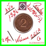 GERMANY - MONEDA DE 2- RENTENPFENNIG AÑO 1924 G  Bronze - [ 3] 1918-1933 : República De Weimar