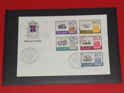 Island Iceland FDC 100 Jahre Briefmarken 100 Years Stamps 1973 Reykjavik CAR Auto Bus Flugzeug Schiff Eisenbahn Railway - Covers & Documents