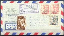1952 , GUINEA ED. 269 , 270 X 2 , 306 , CERTIFICADO DE BATA A BARCELONA  , LLEGADA - Guinea Española