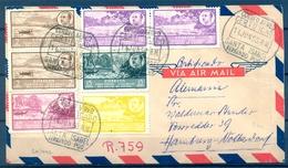 1950 , GUINEA , SOBRE CERTIFICADO CIRCULADO ENTRE BATA Y HAMBURGO ,IMPRESIONANTE FRANQUEO PAISAJES Y EFIGIE GRAL. FRANCO - Guinea Española