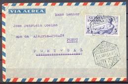 1954 , GUINEA , ED. 313 , SOBRE CIRCULADO POR CORREO AÉREO ENTRE SANTA ISABEL DE FERNANDO POO Y OPORTO - Guinea Española