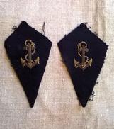 Anciennes Pattes De Col En Cannetille D'infanterie Coloniale LIVRAISON GRATUITE - Ecussons Tissu