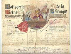 Menu Rötisserie De La Reine Pédauque Paris 2 Février 1930 Une Belle Carte Des Vins Au Verso  27cm X 36cm - Menükarten