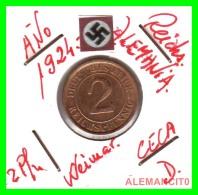 GERMANY - MONEDA DE 2- REICHSPFENNIG AÑO 1924 D  Bronze - [ 3] 1918-1933 : República De Weimar