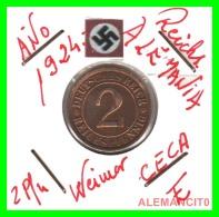 GERMANY - MONEDA DE 2- REICHSPFENNIG AÑO 1924 E  Bronze - [ 3] 1918-1933 : República De Weimar