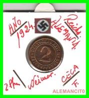 GERMANY - MONEDA DE 2- REICHSPFENNIG AÑO 1924 F  Bronze - [ 3] 1918-1933 : República De Weimar