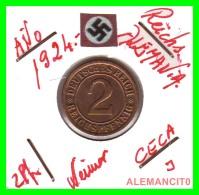 GERMANY - MONEDA DE  2- REICHSPFENNIG AÑO 1924 J  Bronze - [ 3] 1918-1933 : República De Weimar