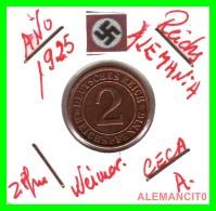 GERMANY - MONEDA DE  2- REICHSPFENNIG AÑO 1925 A  Bronze - [ 3] 1918-1933 : República De Weimar