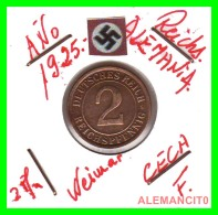 GERMANY - MONEDA DE  2- REICHSPFENNIG AÑO 1925 F  Bronze - [ 3] 1918-1933 : República De Weimar