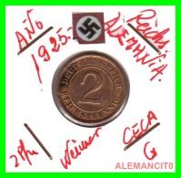 GERMANY - MONEDA DE  2- REICHSPFENNIG AÑO 1925 G  Bronze - [ 3] 1918-1933 : República De Weimar