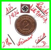 GERMANY - MONEDA DE  2- REICHSPFENNIG AÑO 1936 D  Bronze - [ 3] 1918-1933 : República De Weimar