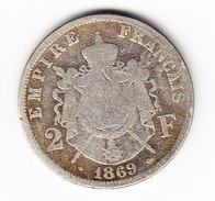 FRANCE  KM  807.1. 2Fr. SILVER.  1869 A .  (F 8036) - France