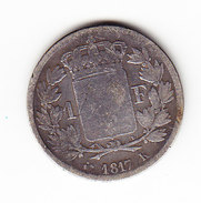 FRANCE KM 709.6, 1Fr, SILVER,  1817 K.    (F 8018) - France