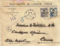 1930- DEVANT De Lettre à En-tête RECC.  D'HANOI-A   Affr. 11 +10 Cents Pour Cannes - Indocina (1889-1945)