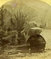 Lake District Westmoreland Pont Brathay Bridge Anciennne Photo Stereo 1860