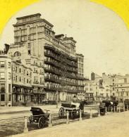 Royaume Uni Sussex Brighton Grand Hotel Front De Mer Anciennne Photo Stereo 1865