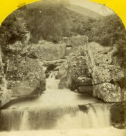 Royaume Uni Ecosse Bracklinn Falls Bridge Anciennne Photo Stereo 1865