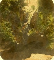 Royaume Uni Ecosse Finnich Glen Pres De Loch Lomond Anciennne Photo Stereo John Cramb 1860 - Photos Stéréoscopiques
