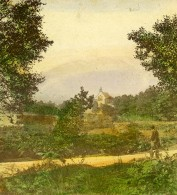 Royaume Uni Ecosse Callander Trossachs Church Loch Achray Anciennne Photo Stereo 1865