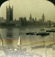 Royaume Uni Londres Parlement Fleuve Thames Tamise Anciennne Photo Stereo 1902