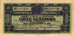 MOZAMBIQUE 20 CENTAVOS PERFORE Du 25-11-1933 Pick R29  XF/SUP+ - Mozambique
