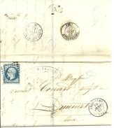 LETRE 1857 ANGOULEME A THIBERVILLE - Marcofilia (sobres)