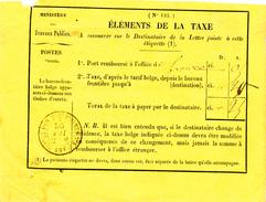 021/25 - Etiquette Jaune Des Postes Belges - Elements De La Taxe - Cachet Ambulant FRANCE Par ERQUELINNES No 3 En 1860 - Postage Due