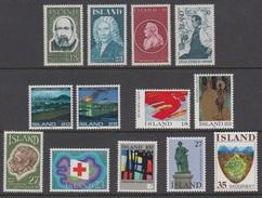 1975 ** Islande (sans Charn., MNH, Postfrish) Complete Yv 453/65  Mi 500/12  FA 537/49 (13v) - Komplette Jahrgänge
