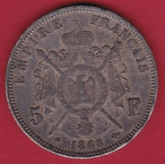 France 5 Francs Napoléon III - Tête Laurée 1868 BB - France