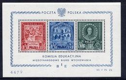 POLAND 1946 Education Fund Block MNH / **.  Michel Block 9 - Blocks & Sheetlets & Panes