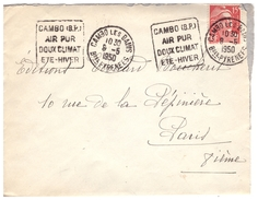 Daguin CAMBO (BP) Air Pur Doux Climat Eté Hiver Lettre Du 8.5.50 Pour PARIS - Mechanical Postmarks (Advertisement)