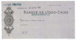 Chèque Banque De L'Indo-Chine - Agence De MONGTZE (Chine)   - (années 191O à 1919) - Chèques & Chèques De Voyage