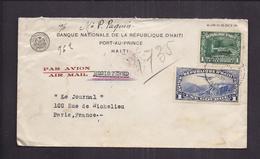 ENVELOPPE 1937 BANQUE NATIONALE DE LA REPUBLIQUE D' HAITI PORT AU PRINCE Recommandé PAR AVION Ny MIAMI ? - Haiti