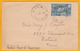 1929  - Enveloppe De M' Balmayo, Cameroun Vers Detroit, USA - Timbre 1 F50 Seul Pont De Lianes - Cameroun (1915-1959)