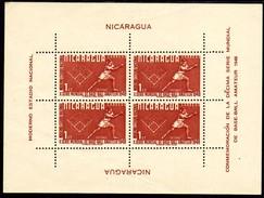 01901 Nicaragua Bloco 37 Baseball Amador Leve Dobra Nnn - Nicaragua