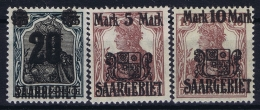 Saar Mi Nr 50 - 52 MNH/**/postfrisch/neuf Sans Charniere 1921 - Ungebraucht