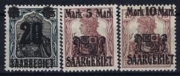 Saar Mi Nr 50 - 52 MNH/**/postfrisch/neuf Sans Charniere 1921 - 1920-35 Saargebiet – Abstimmungsgebiet
