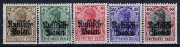 Reich DP In Polen Mi Nr 1 - 5   MNH/**/postfrisch/neuf Sans Charniere - Occupation 1914-18