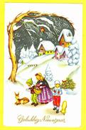 * Fantasie - Fantaisie - Fantasy * (JC) Bonne Année, New Year, Enfant, Child, Kind, Animée, Panier, Snow, Neige - Nouvel An