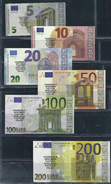 "EURO SET ""POLLY 5 - 200 €"" (Spielgeld, Play Money),  RRR, UNC , 6 Notes Scarce, 200 € = 114 X 60 Mm - EURO"