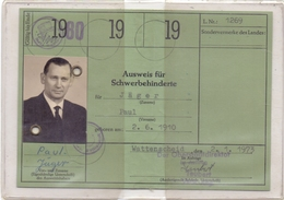 AUSWEIS - Schwerbehinderten-Ausweis, 1980, Bochum-Wattenscheid - Historische Dokumente
