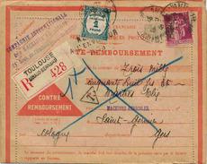 Carte Contre Remboursement Avec Timbre Type Paix Perforé + Taxe +  Trou D'archive - Perfins