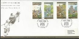 Hong Kong. Scott # 527-30 FDC. 100th Anniv. Of Peak Tremway 1988 - Hong Kong (...-1997)